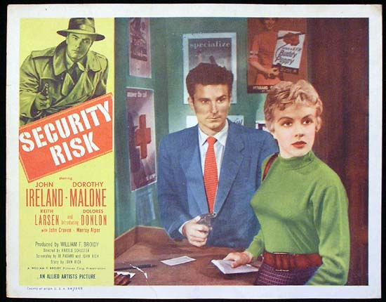 SECURITY RISK 1954 John Ireland Dorothy Malone Lobby Card 4