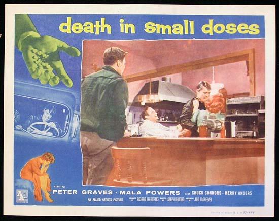 DEATH IN SMALL DOSES '57 Mala Powers DRUG Lobby card #2
