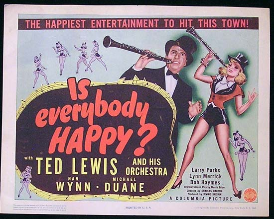 IS EVERYBODY HAPPY 1943 Ted Lewis JAZZ Title Lobby Card