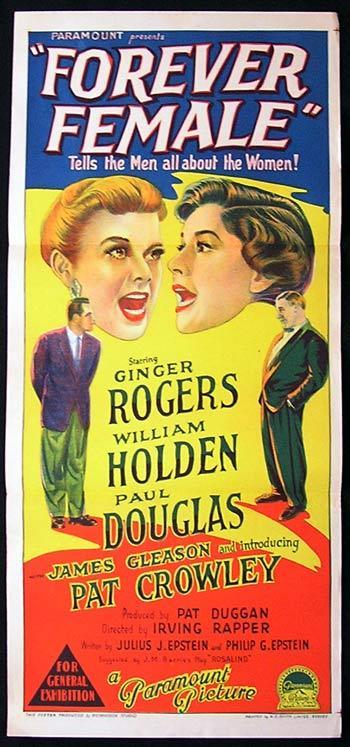 FOREVER FEMALE Movie Poster 1954 Ginger Rogers Richardson Studio RARE daybill