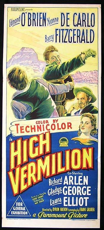 HIGH VERMILION Daybill Movie Poster 1951 Edmond O'Brien Richardson Studio