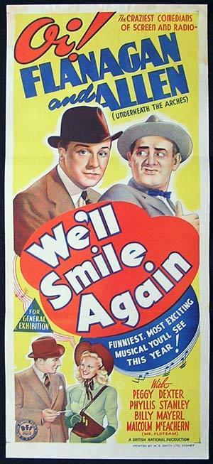 WE'LL SMILE AGAIN Movie Poster 1942 Flanagan and Allen ORIGINAL Australian Daybill