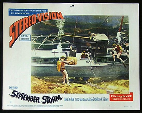 SEPTEMBER STORM Lobby Card 8 1960 Underwater Skin Diving JOANNE DRU