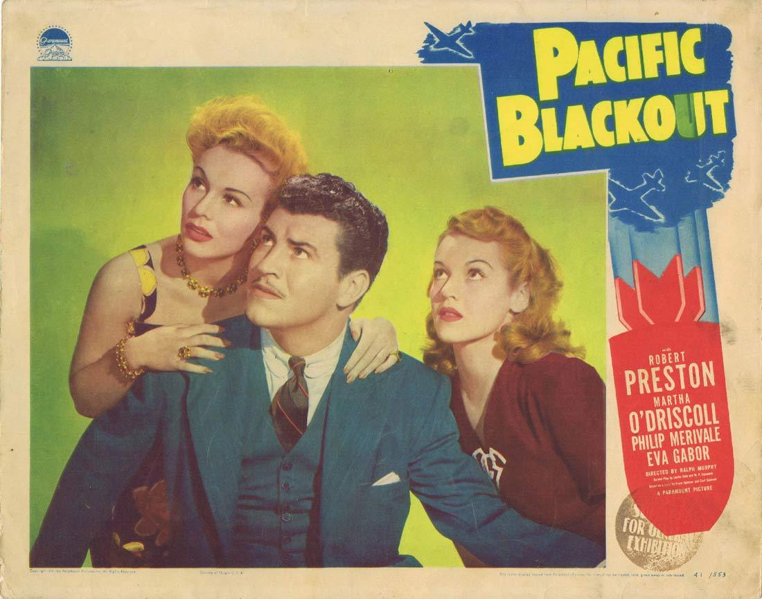 PACIFIC BLACKOUT Original Lobby Card Robert Preston Eva Gabor