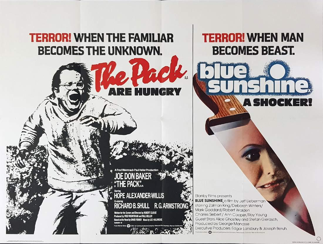 THE PACK plus BLUE SUNSHINE British Quad Movie poster Double Feature