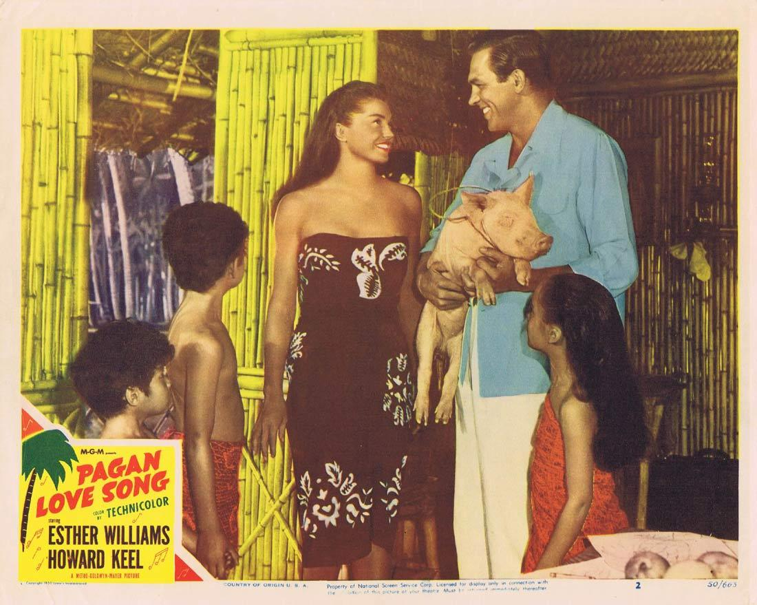 PAGAN LOVE SONG Original Lobby Card 2 Esther Williams Howard Keel
