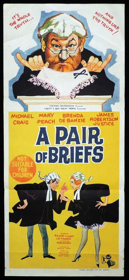 A PAIR OF BRIEFS Daybill Movie poster James Robertson Justice British Comedy