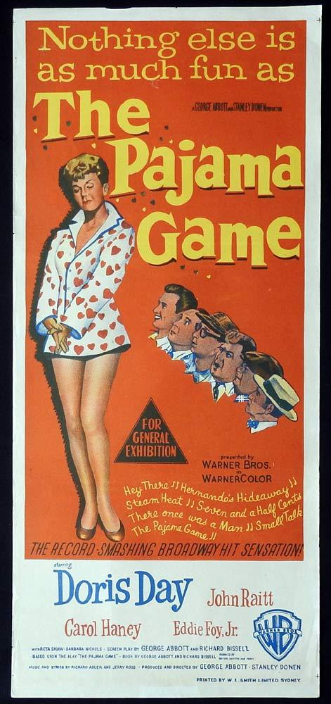 THE PAJAMA GAME Original Daybill Movie Poster Doris Day John Raitt