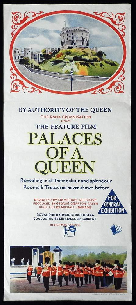 PALACES OF A QUEEN Original Daybill Movie poster Elizabeth II