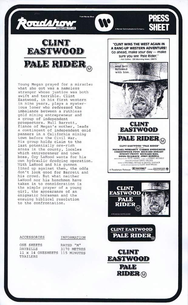 PALE RIDER Rare AUSTRALIAN Movie Press Sheet Clint Eastwood