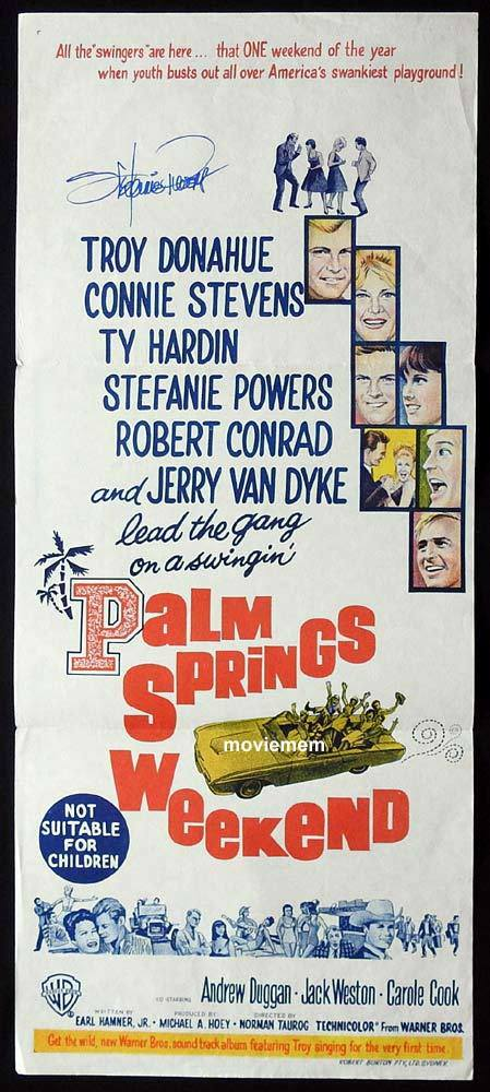 PALM SPRINGS WEEKEND Original Daybill Movie Poster Autograph Stefanie Powers