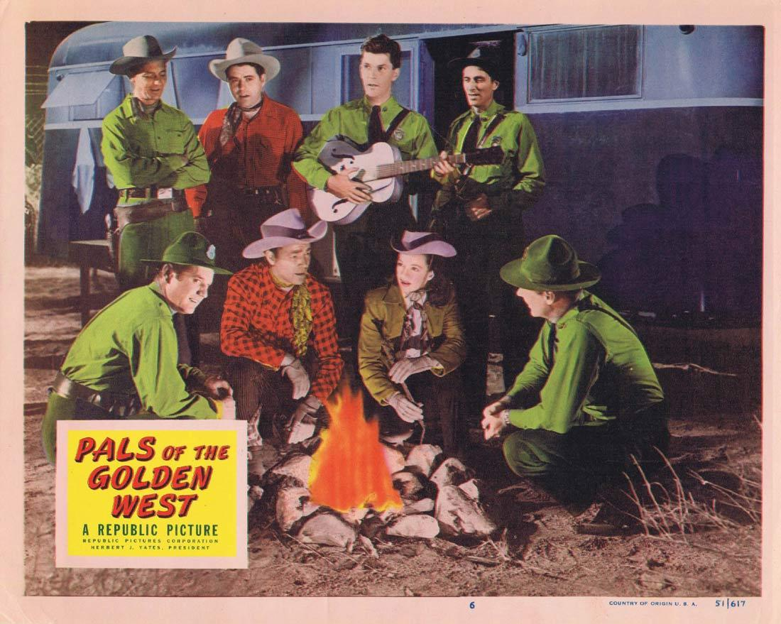 PALS OF THE GOLDEN WEST Original Lobby Card 6 Roy Rogers Trigger Dale Evans