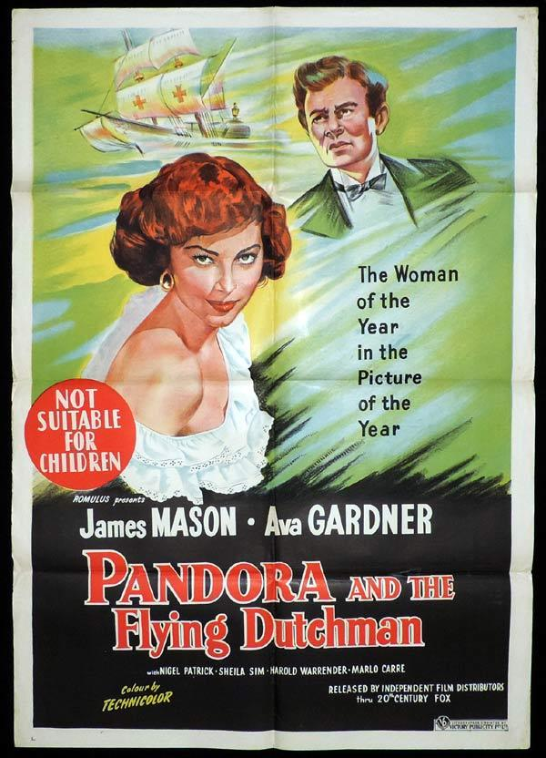PANDORA AND THE FLYING DUTCHMAN One Sheet Movie Poster Ava Gardner James Mason