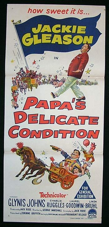 PAPA'S DELICATE CONDITION Movie Poster 1963 Jackie Gleason Australian Daybill