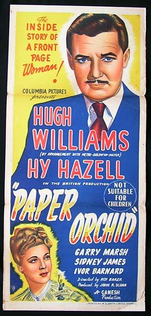 PAPER ORCHID Movie poster 1949 Film Noir Hugh Williams