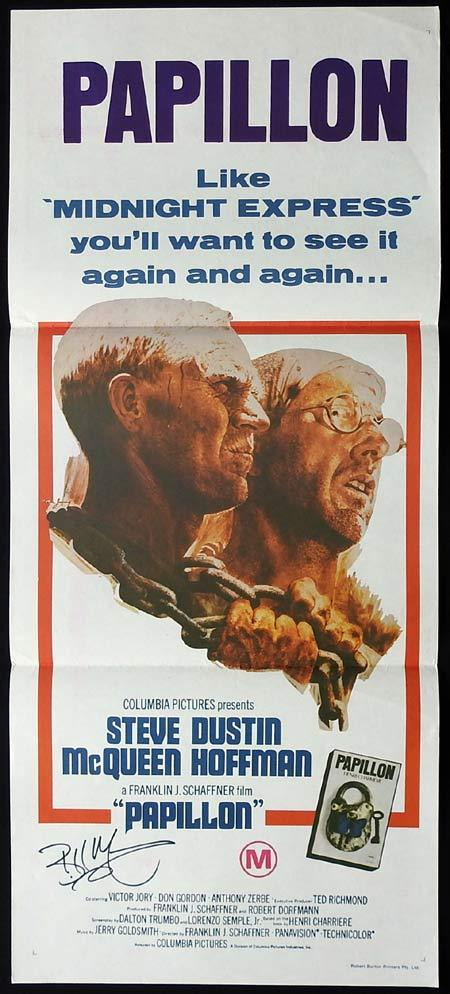 PAPILLON Original Daybill Movie poster AUTOGRAPHED by Bill Mumy