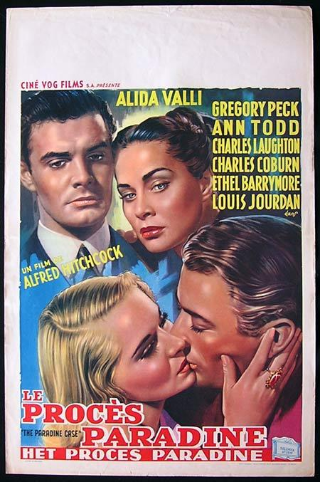 THE PARADINE CASE Movie Poster 1948 Gregory Peck Alfred Hitchcock BELGIAN