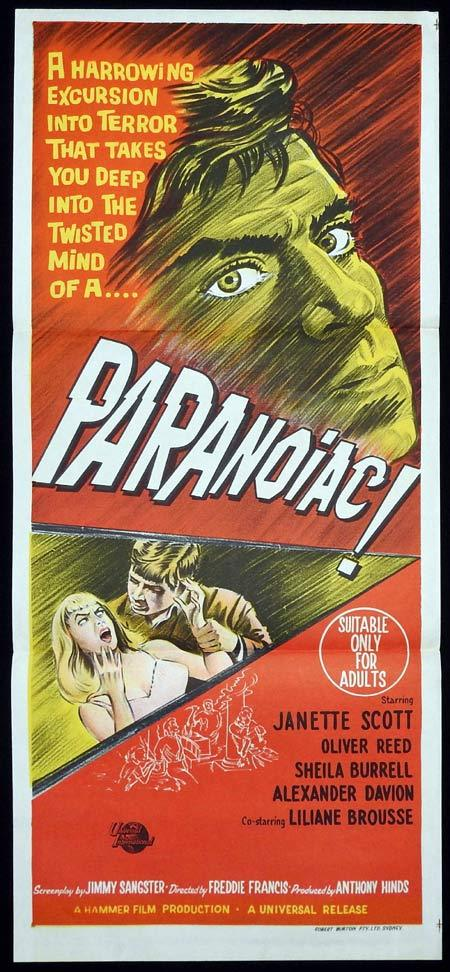 PARANOIAC Original Daybill Movie Poster HAMMER Janette Scott Oliver Reed
