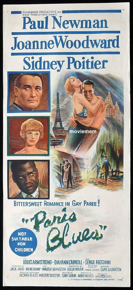 PARIS BLUES Original Daybill Movie Poster Paul Newman  Joanne Woodward
