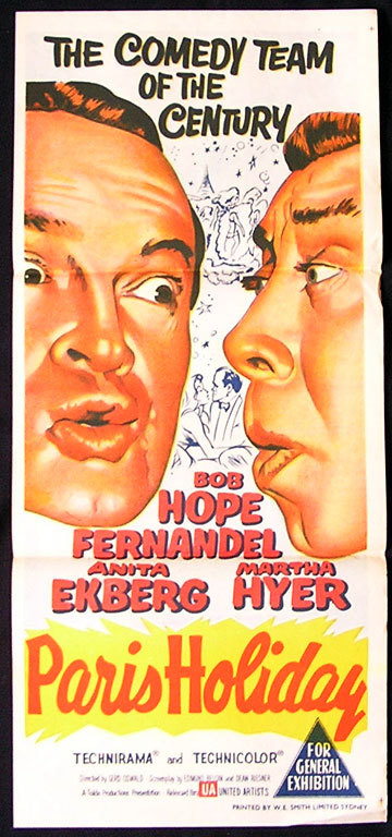 PARIS HOLIDAY Original Daybill Movie Poster Bob Hope Fernandel