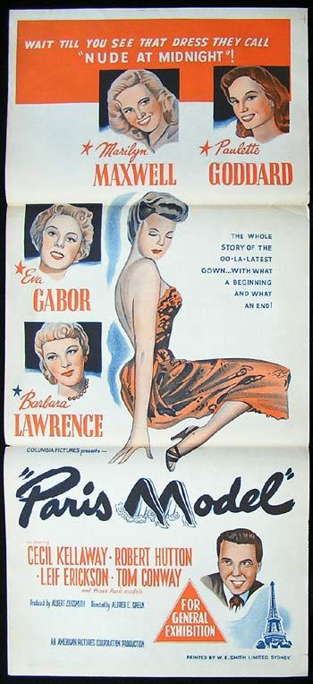 PARIS MODEL Original Daybill Movie Poster Marilyn Maxwell Paulette Goddard