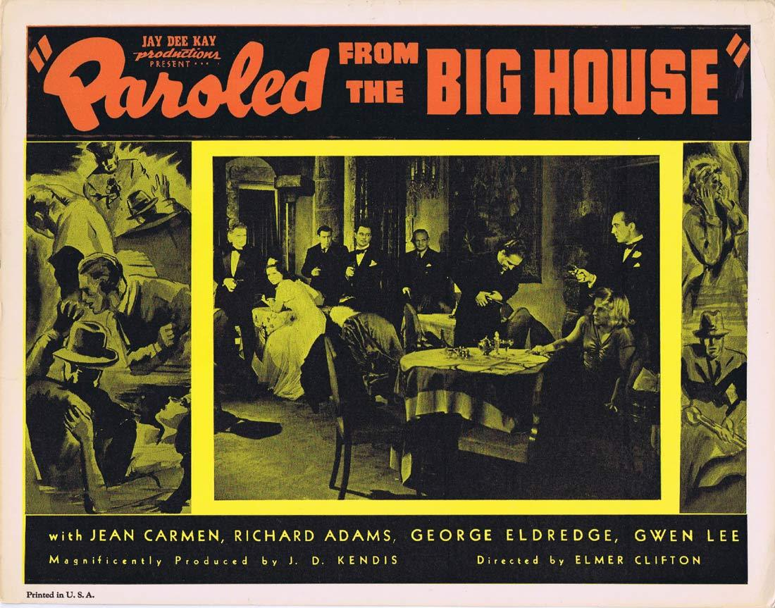 PAROLED FROM THE BIG HOUSE Original Lobby Card 3 Jean Carmen Ted Adams