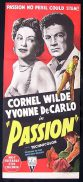 PASSION Daybill Movie Poster Cornel Wilde Yvonne DeCarlo