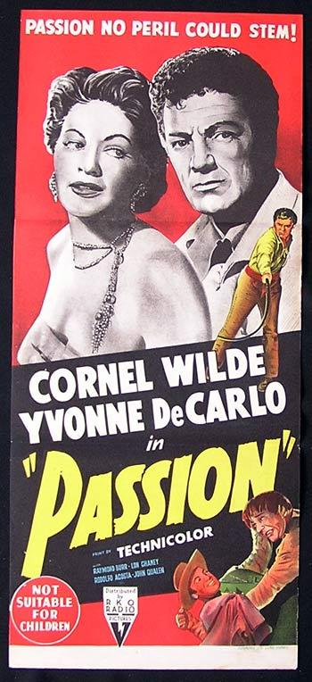 PASSION Daybill Movie Poster Cornel Wilde Yvonne DeCarlo