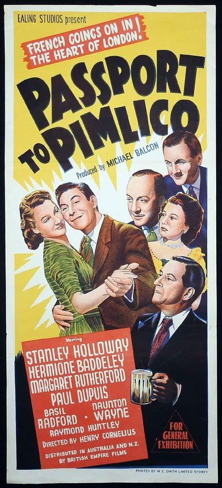 PASSPORT TO PIMLICO Original Daybill Movie Poster Stanley Holloway Ealing
