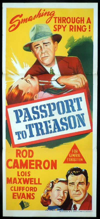 PASSPORT TO TREASON Daybill Movie poster Rod Cameron Film Noir