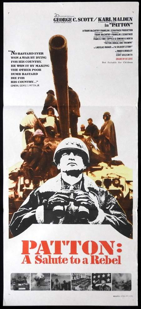 PATTON Daybill Movie Poster George C. Scott Karl Malden Michael Bates