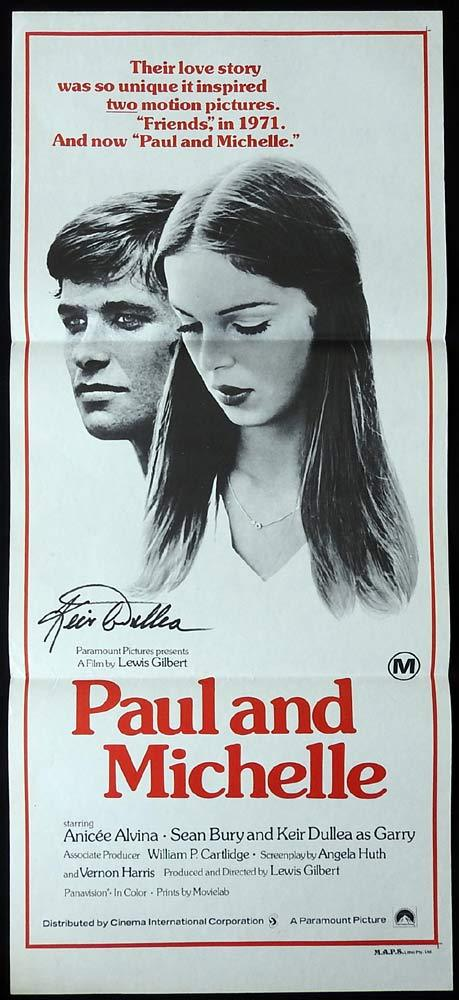 PAUL AND MICHELLE Original Daybill Movie poster AUTOGRAPHED By Keir Dullea