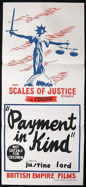 PAYMENT IN KIND Daybill Movie poster Edgar Lustgarten Justine Lord SCALES OF JUSTICE