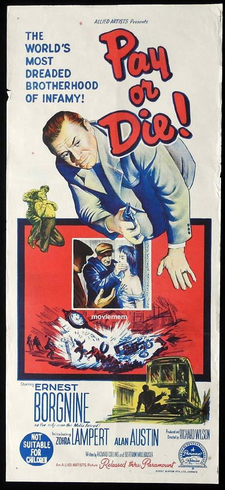 PAY OR DIE Original Daybill Movie Poster Ernest Borgnine Zohra Lamper