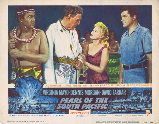 PEARL OF THE SOUTH PACIFIC Lobby Card 2 Virginia Mayo Dennis Morgan