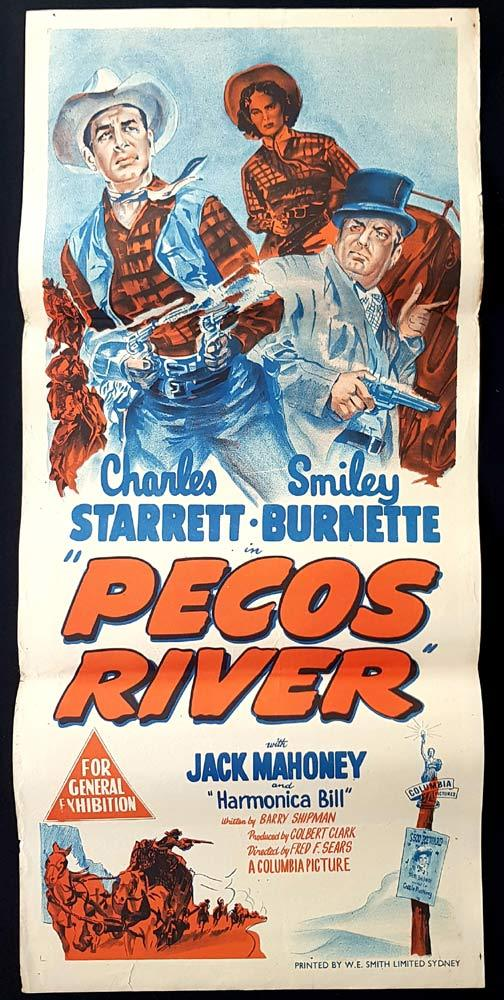 PECOS RIVER Original Daybill Movie poster Charles Starrett