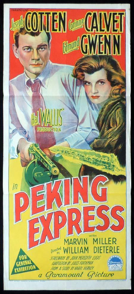 PEKING EXPRESS Original Daybill Movie Poster JOSEPH COTTEN Corinne Calvert Richardson Studio