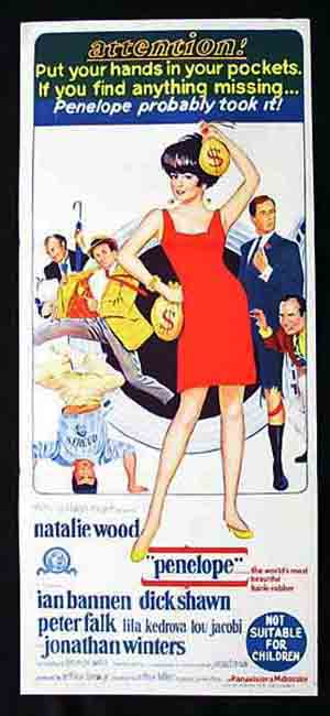 PENELOPE Daybill Movie Poster Natalie Wood Peter Falk