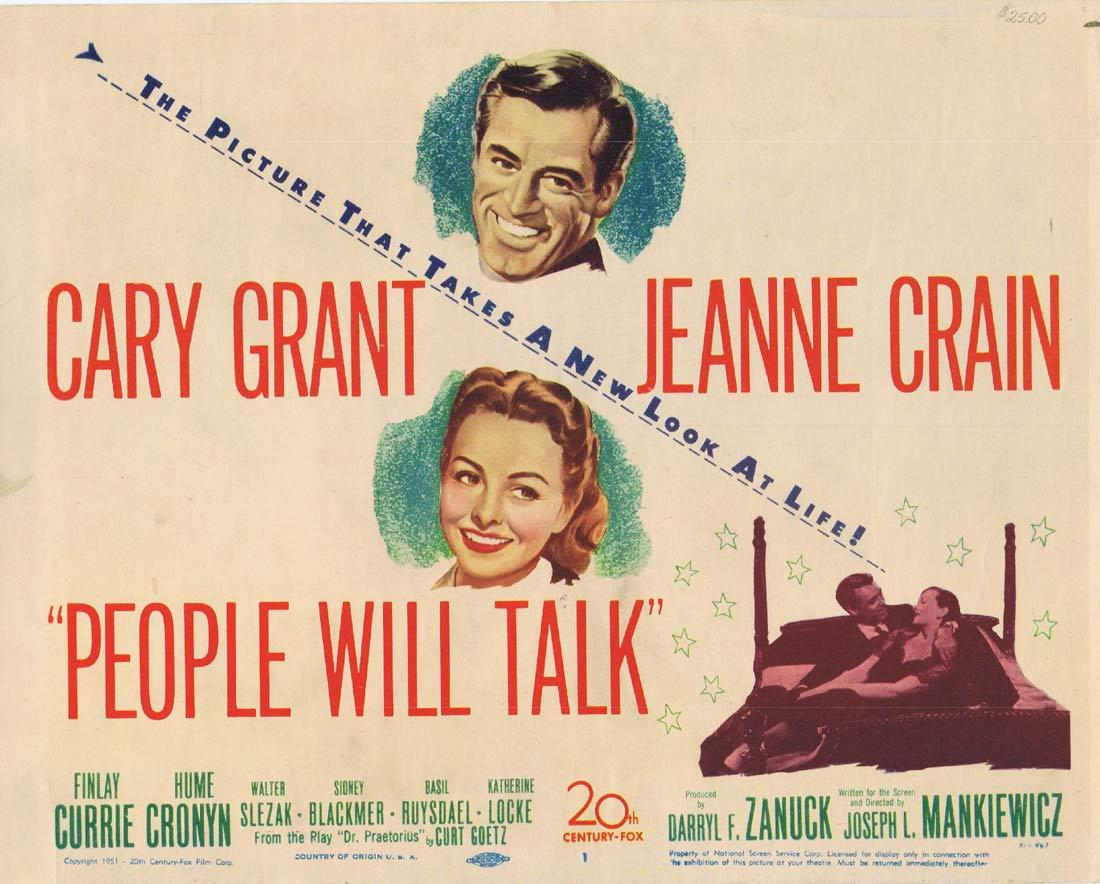 PEOPLE WILL TALK Title Lobby Card Cary Grant Jeanne Crain Hume Cronyn