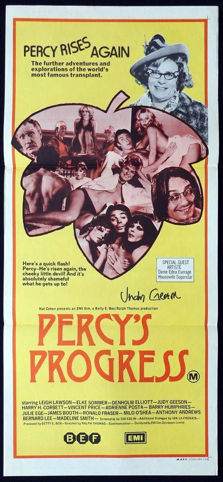 PERCY'S PROGRESS Original Daybill Movie Poster Autographed by Judy Geeson
