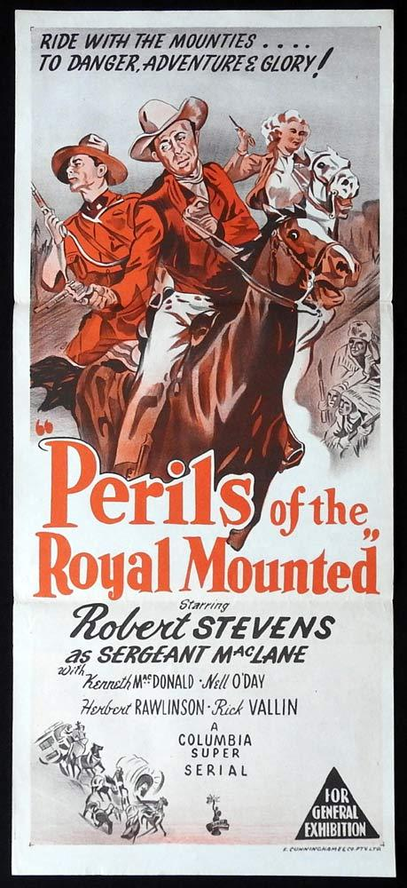 PERILS OF THE ROYAL MOUNTED Original Daybill Movie poster Columbia Serial Mounties