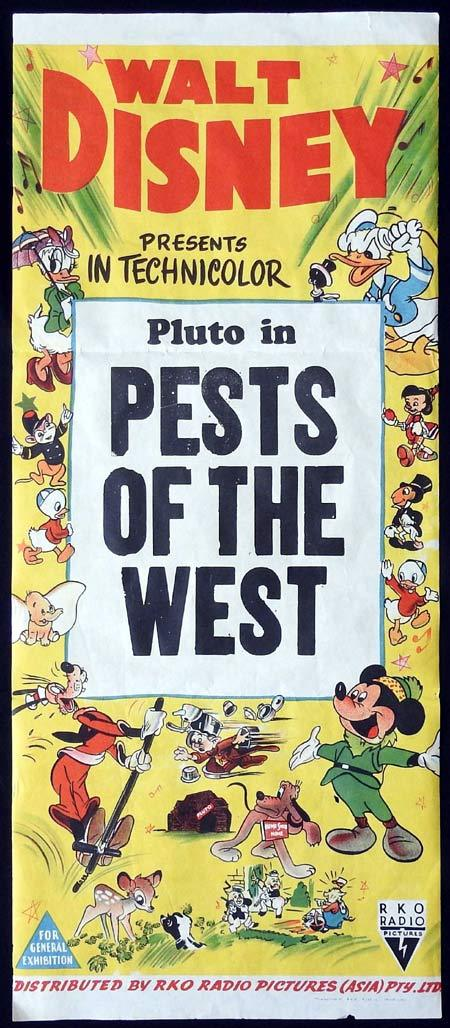 PESTS OF THE WEST Original Daybill Movie Poster PLUTO DISNEY SHORT 1950