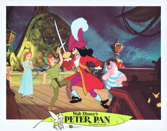 PETER PAN Vintage Lobby Card 5 1976r Disney Fighting Captain Hook