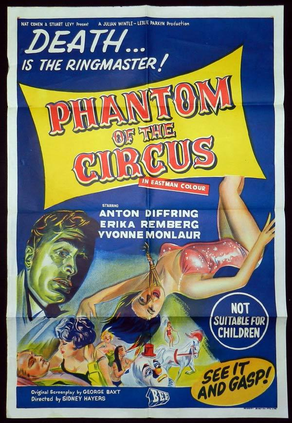 PHANTOM OF THE CIRCUS Original AUSTRALIAN ONE SHEET Movie poster Anton Diffring