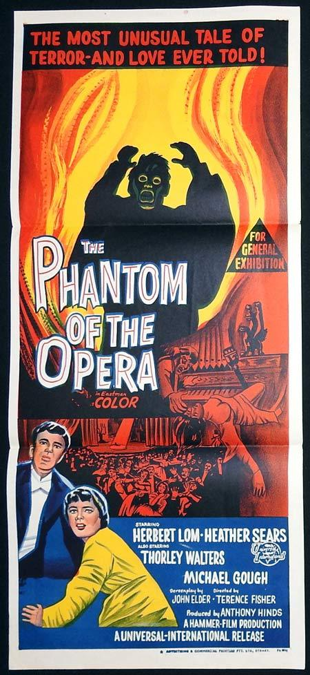 PHANTOM OF THE OPERA Original Daybill Movie poster Herbert Lom Hammer Films