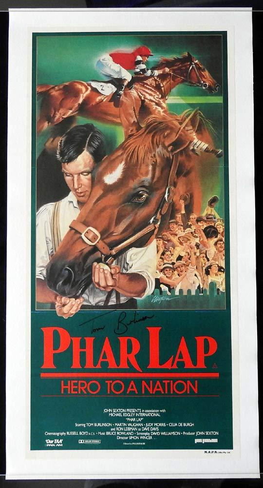 PHAR LAP Daybill Movie poster LINEN BACKED Tom Burlinson Autograph