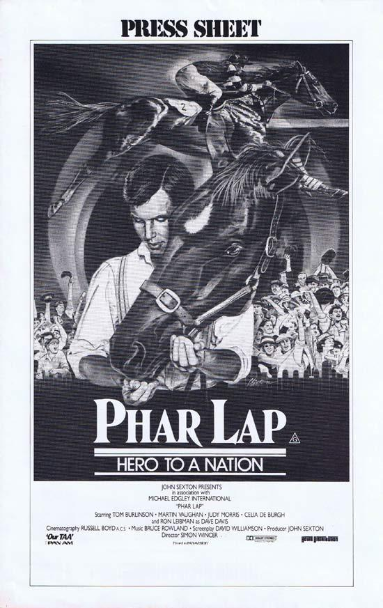 PHAR LAP Rare AUSTRALIAN Movie Press Sheet