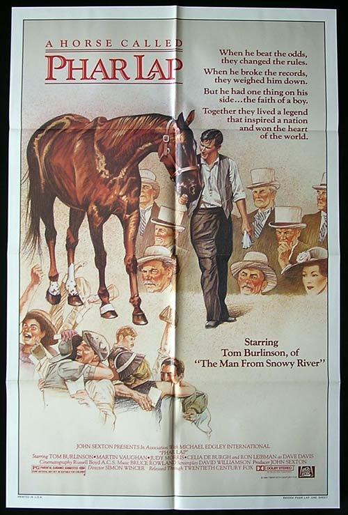 PHAR LAP 1983 Horse Racing Classic ORIGINAL US One sheet Movie poster