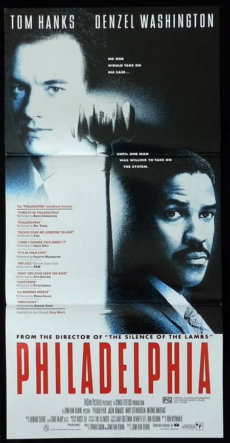 PHILADELPHIA Original Daybill Movie Poster Denzel Washington Tom Hanks