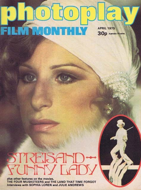 PHOTOPLAY Film Monthly Magazine April 1975 Barbra Streisand Funny Lady cover
